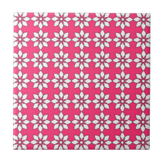 Simple White Flowers On Pink Tile