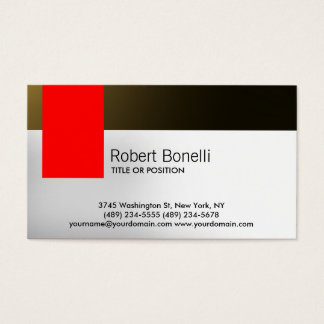 Simple White Grey Red Gold Modern Business Card