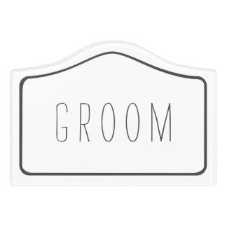Simple White Groom Changing Room Door Sign