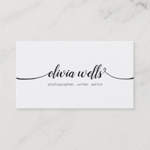 simple white handwritten script calligraphy business card - Simple Business Cards