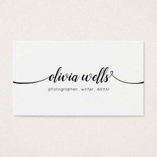 Networking business cards templates zazzle simple white handwritten script calligraphy business card flashek Images