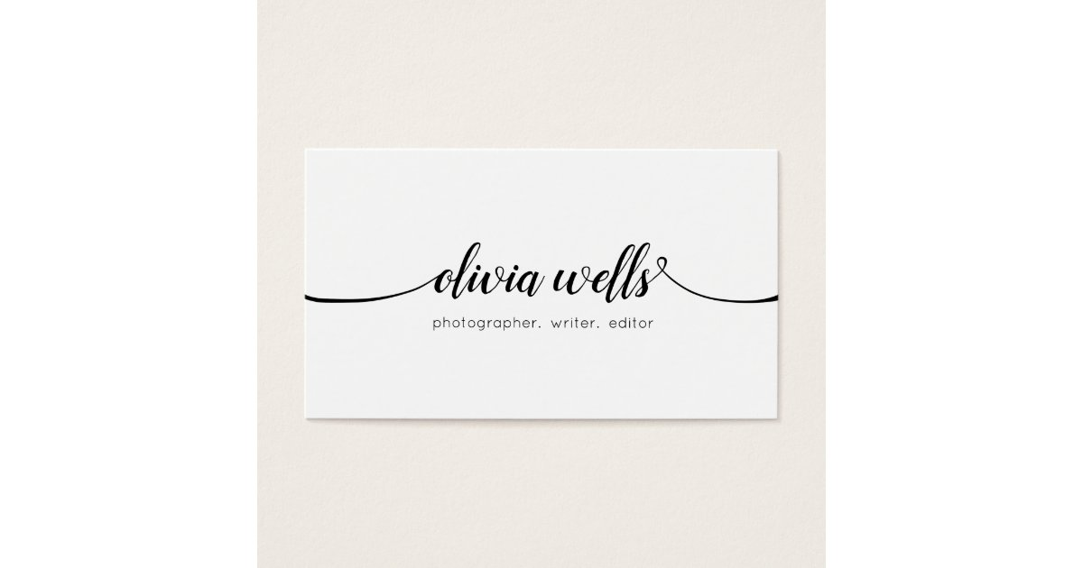 Simple White Handwritten Script Calligraphy Business Card | Zazzle.com