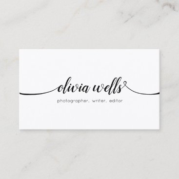 Simple White  Handwritten Script Calligraphy Business Card