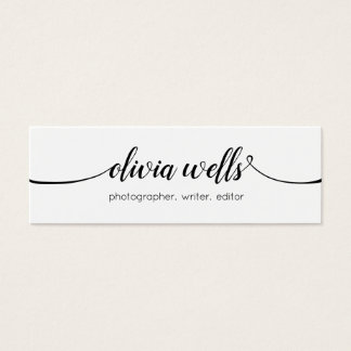 Simple White  Handwritten Script Calligraphy Mini Business Card
