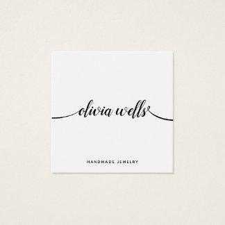 Simple White  Handwritten Script Calligraphy Square Business Card