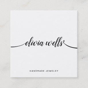 Jewelry designer business cards zazzle simple white handwritten script calligraphy square business card colourmoves