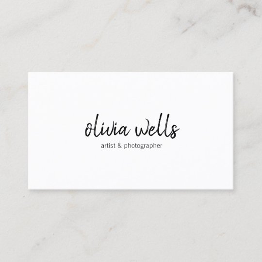 Simple White Handwritten Social Media Icons Business Card Zazzle