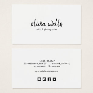 Social media business cards templates zazzle simple white handwritten social media icons business card accmission Gallery