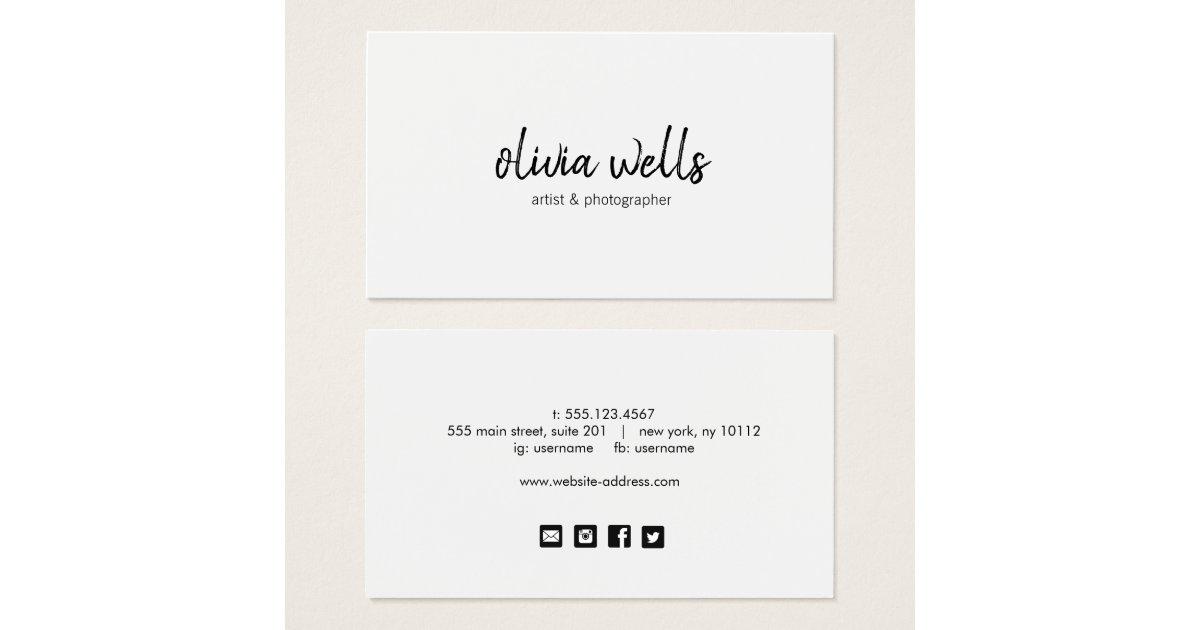 Simple White Handwritten Social Media Icons Business Card | Zazzle.com