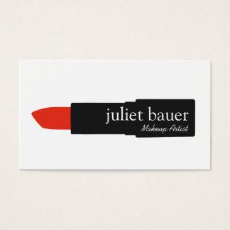 Simple White Makeup Artist Lipstick Logo Beauty Business Card