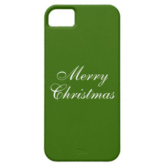 Simple White Merry Christmas Wording on Green iPhone SE/5/5s Case
