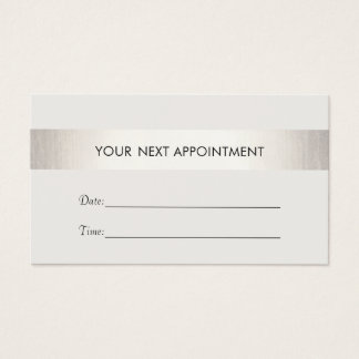 Simple White Modern FAUX Silver Stripe Appointment Business Card