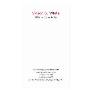 Simple white modern plain professional vertical business card