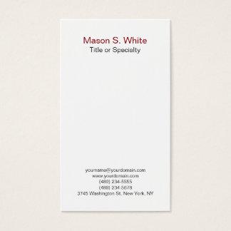 Simple white modern plain professional vertical business card