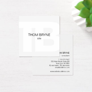 Simple White Modern Professional Monogram Square Business Card