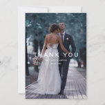 """Simple White Overlay Text Wedding Photo Thank You Card<br><div class=""""desc"""">Simple and elegant wedding thank you template postcard featuring a text that says thank you on top of your photo. You can add a second picture on the back of the card along with an editable message.</div>"""