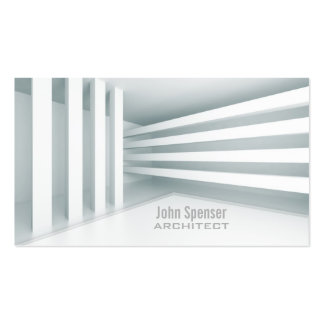 Simple White Parallel Lines Design Architect Card Double-Sided Standard Business Cards (Pack Of 100)