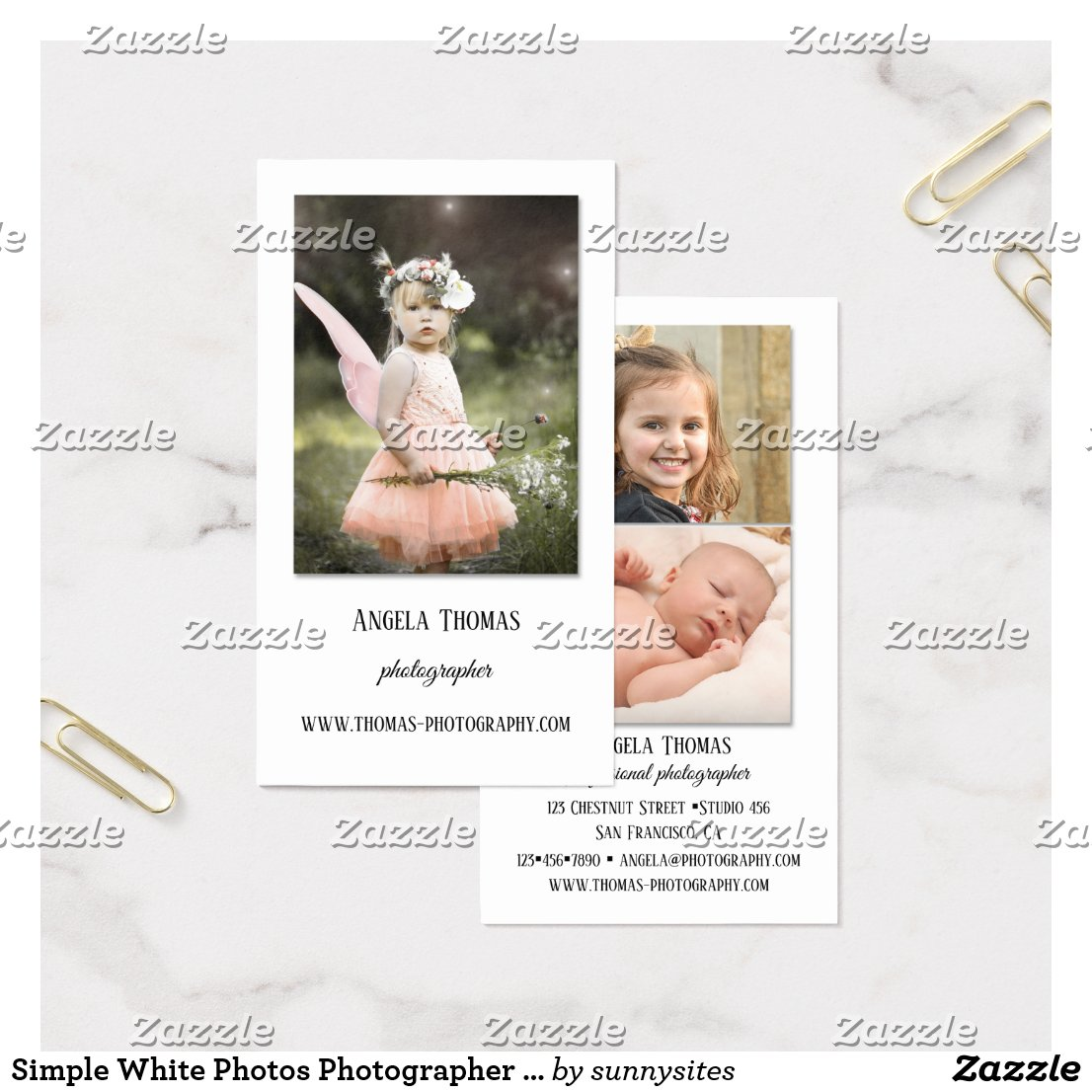 Simple White Photos Photographer Business Card