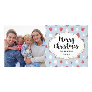 Simple White Red Trees Blue Christmas Photo Card
