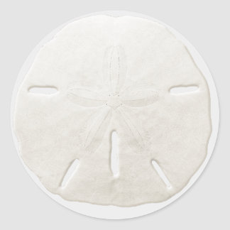 Simple White Sand Dollar Beach Wedding Favor Classic Round Sticker