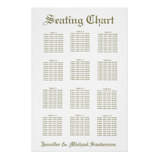 Simple White Seating Chart