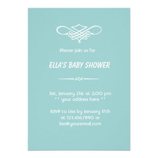 Simple White Starfish Baby Shower Invitation (back side)