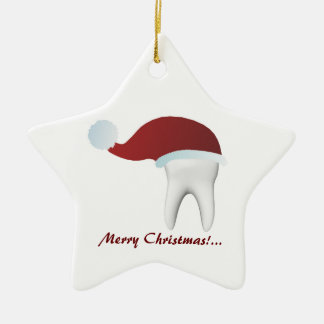 Simple White Tooth With A Red Hat Christmas Decor Ceramic Ornament