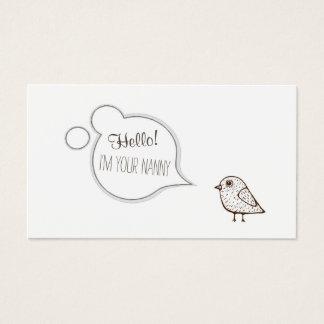 Simple White Tweet Bird Babysitting/Childcare Card