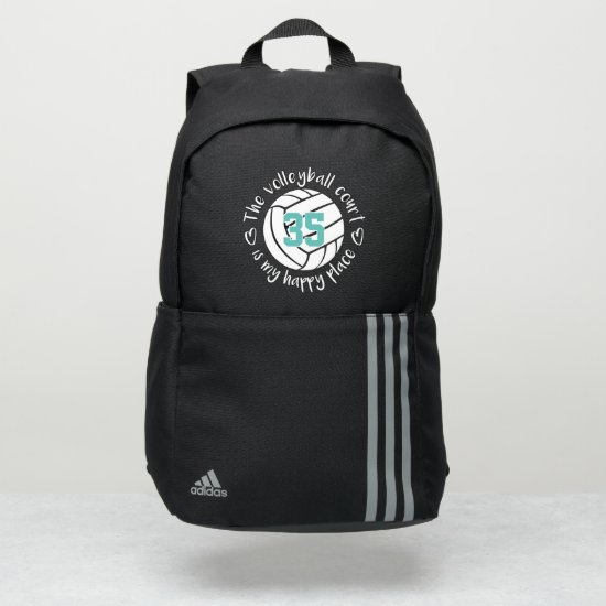 simple white volleyball court is my happy place adidas backpack