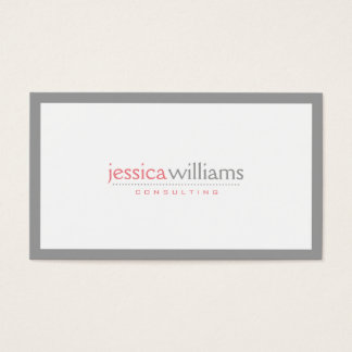 Simple White With Gray Border Business Card