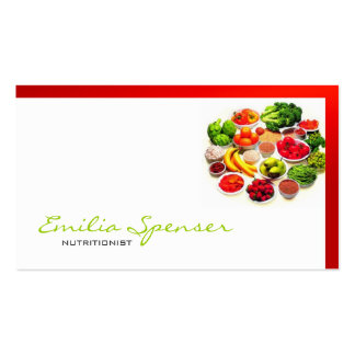 Simple White With Red Border Healthy Life/ Card Business Card