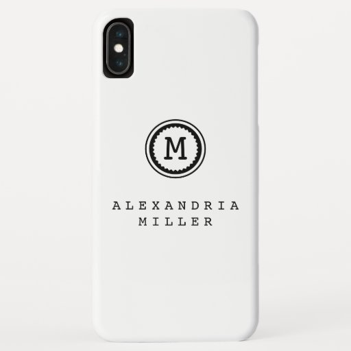 Simple White with Typewriter Monogram Medallion iPhone XS Max Case