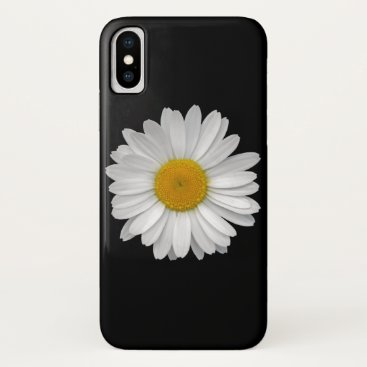 Simple WhiteDaisy Flower on Black iPhone XS Case