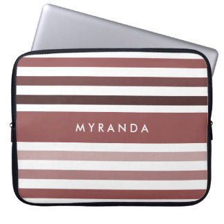 Simple Wide Stripes and Name in Soft Brown Computer Sleeve