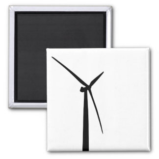 Simple wind turbine green energy silhouette 2 inch square magnet