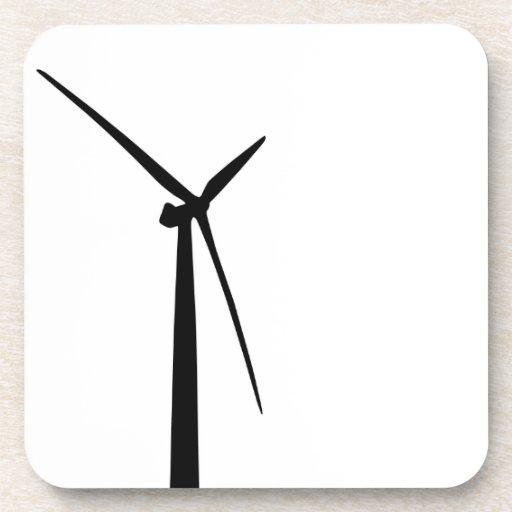 Simple wind turbine green energy silhouette drink coasters