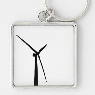 Simple wind turbine green energy silhouette keychains