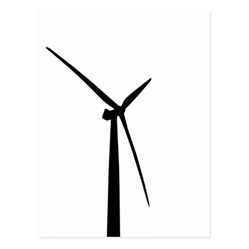 Simple wind turbine green energy silhouette post card