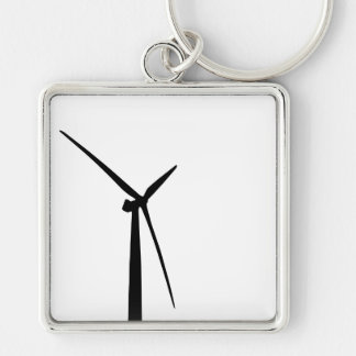 Simple wind turbine green energy silhouette Silver-Colored square keychain