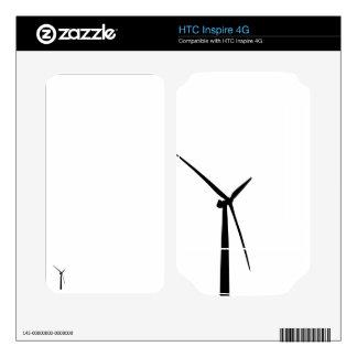 Simple wind turbine green energy silhouette skin HTC inspire 4G decal