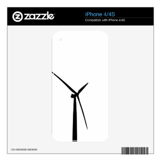 Simple wind turbine green energy silhouette skin decals for the iPhone 4S