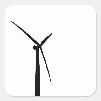 Simple wind turbine green energy silhouette square sticker