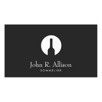 Simple Wine Bottle Logo Sommelier Black Business Card