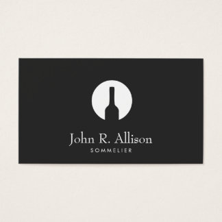 Simple Wine Bottle Logo Sommelier Black Business Card