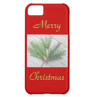 Simple Winter Pine Needles Merry Christmas on Red iPhone 5C Cases