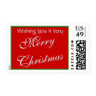 Simple Wishing You Merry Christmas Red Green Stamp