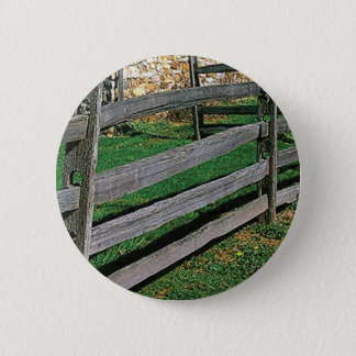 simple wood fence old pinback button