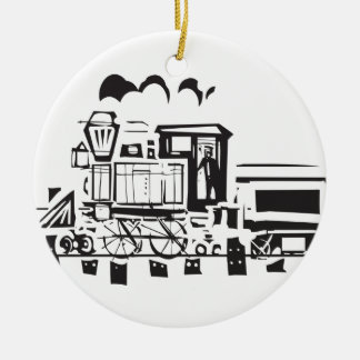 Simple Woodcut Locomotive Ceramic Ornament