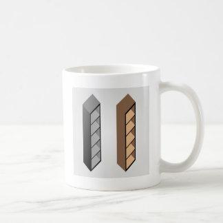 Simple wooden bookshelf design coffee mug