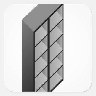 Simple wooden bookshelf design square sticker